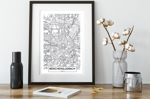 Besondere Geschenkideen aus Mönchengladbach: City Map von Mönchengladbach im Rahmen