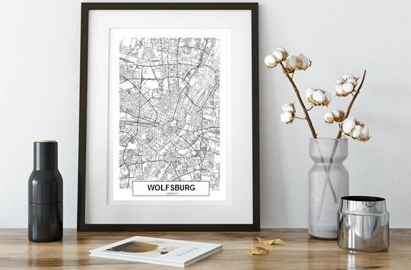 Besondere Geschenkideen aus Wolfsburg: City Map von Wolfsburg im Rahmen