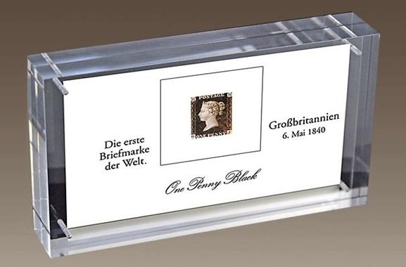 Hochwertige Geschenke für Männer und Frauen: Erste Briefmarke der Welt im Acrylblock