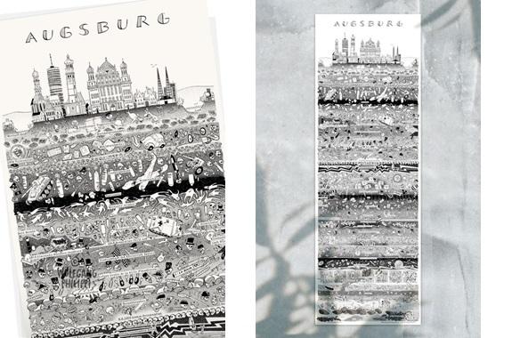 Besondere Geschenkideen aus Augsburg: Augsburger Stadtplakat von Wolfgang Philippi