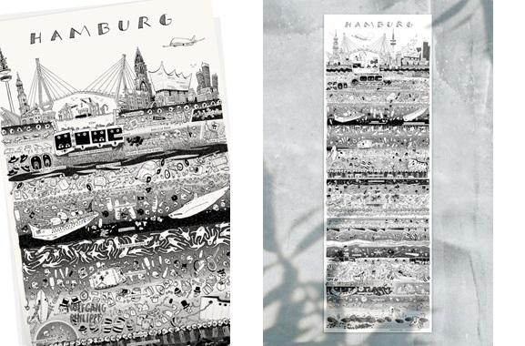 Besondere Geschenkideen aus Hamburg: Hamburger Stadtplakat von Wolfgang Philippi