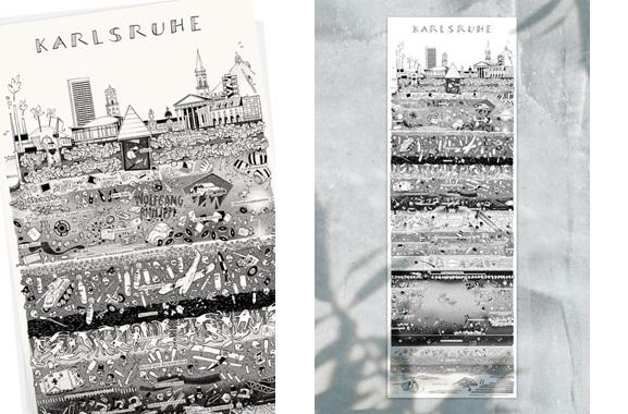 Besondere Geschenkideen aus Karlsruhe: Karlsruher Stadtplakat von Wolfgang Philippi