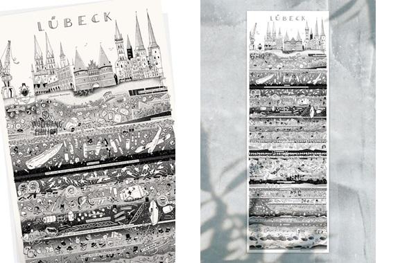 Besondere Geschenkideen aus Lübeck: Lübecker Stadtplakat von Wolfgang Philippi