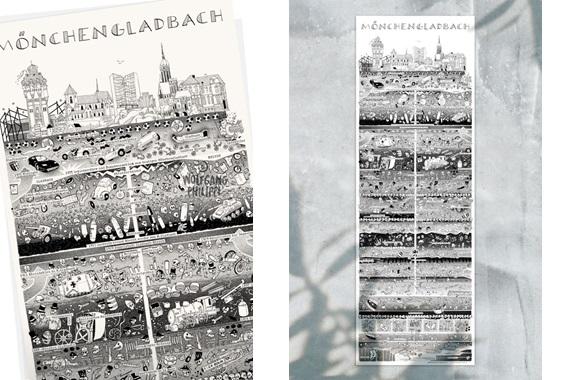 Besondere Geschenkideen aus Mönchengladbach: Mönchengladbacher Stadtplakat von W. Philippi