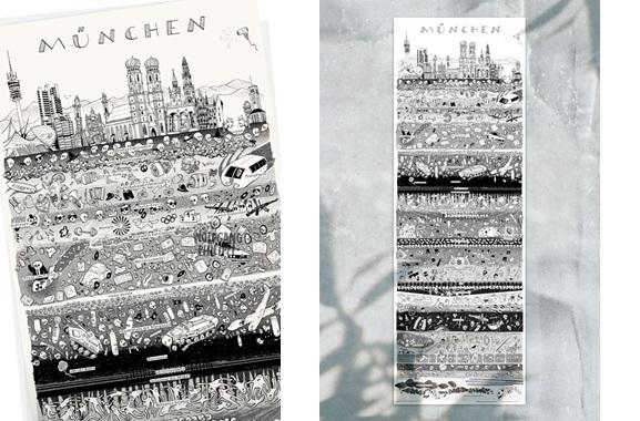 Besondere Geschenkideen aus München: Münchener Stadtplakat von Wolfgang Philippi