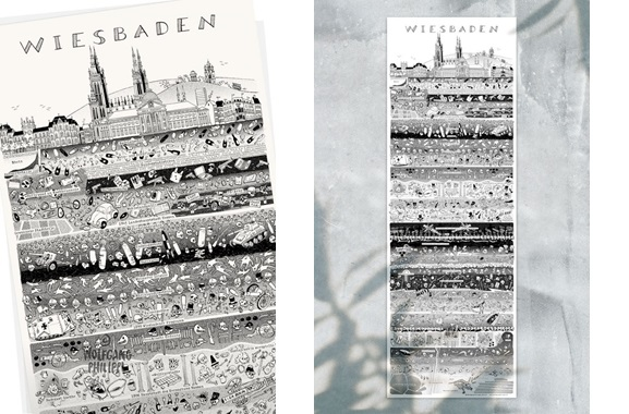 Besondere Geschenkideen aus Wiesbaden: Wiesbadener Stadtplakat von Wolfgang Philippi