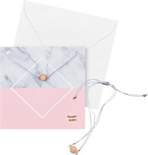 Besondere Geschenkideen aus der Region: Geschenkkarte mit Rosenquarz-Armband