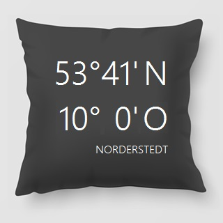 Regionale Geschenkidee: Kissen mit Koordinaten von Norderstedt