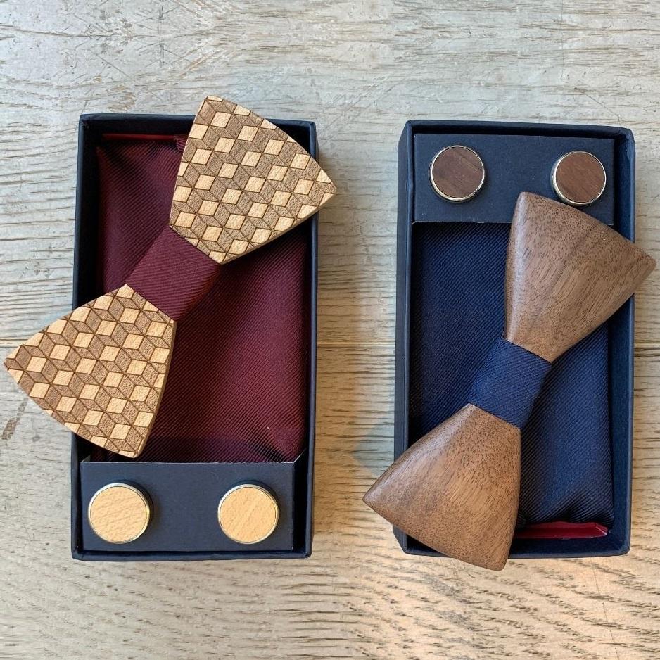 Besondere Geschenkideen aus Braunschweig: Schleife & Manschettenknopf-Set aus Holz von Real Guys