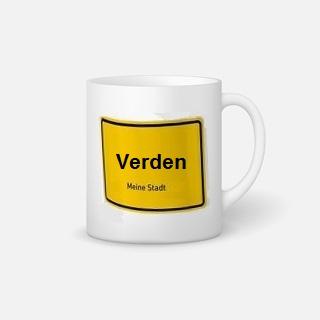 Besondere Geschenkideen aus Verden: Tasse mit Verden-Ortsschild