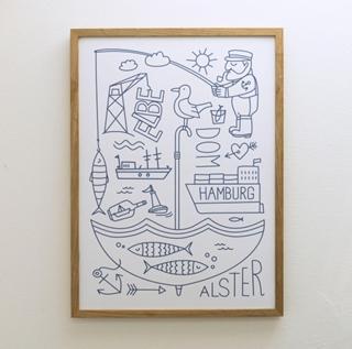 Besondere Geschenkideen aus Hamburg: Hamburg Elbe Alster Poster