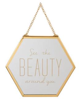 Besondere Geschenkideen in Ihrer Nähe: Sechseckiger Spiegel mit Schriftzug