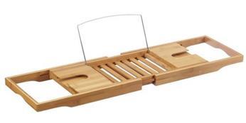 Besonderes Geschenk für Männer und Frauen: Hochwertige Bambus Badewannenablage mit Buchstütze